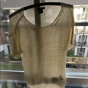 Other - H&M cream Colored knitted short sleeve shirt S
